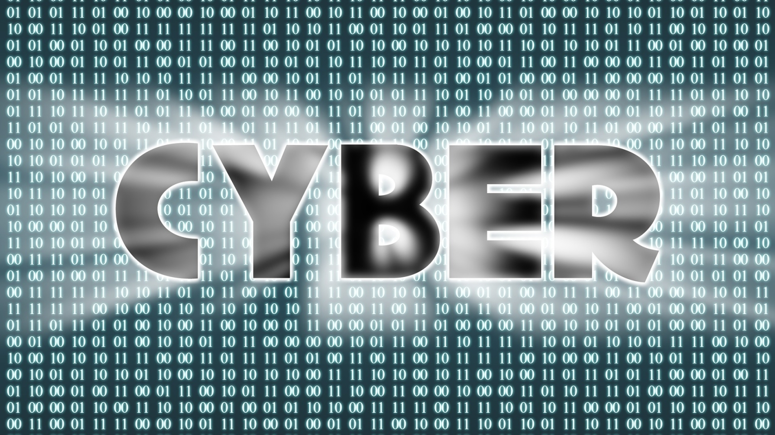 the word cyber surrounded by code