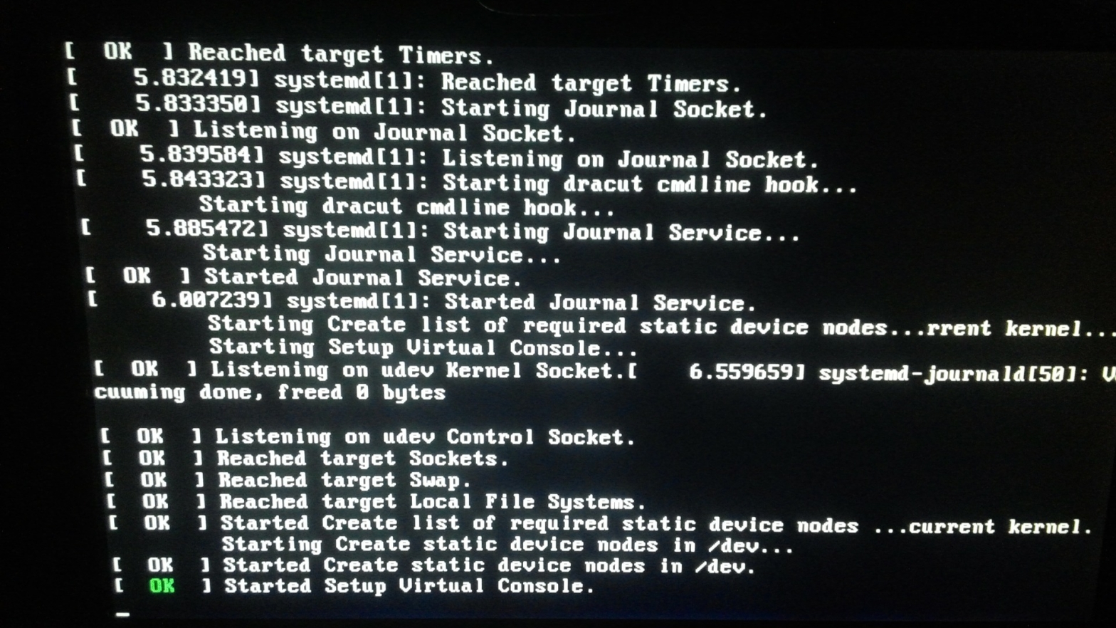 Kernel boot up screen